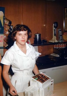Cool Restaurant, Family Album, Vintage Colors, Good Old, 1960s, Chef Jackets, Working Girls, Soda Fountain, Restaurants