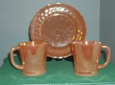Fire King Peach Lustre Salad Plate and Two Coffee by CactusnSage, $15.00