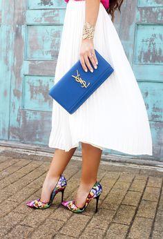 Pleated Midi Skirt 40% OFF  - Spring Outfit - Sunshine & Stilettos Blog (Instagram: @katlynmaupin)