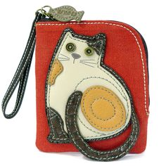 """Chala Zip Wallet.  LaZzy Cat. Fun & Functional Hold your credit cards, ID, cash, and coins in one place!•Charming cat with detailed stitching and metal button eyes •Top zipper closure with a fish charm •Patterned fabric lining •Antique brass toned hardware •Currency/coin compartment •Multiple credit card slots Materials used: Cotton canvas & textured faux leather  Color:  Rust Red  Approx. Measurements: 4.5"""" x 0.5"""" x 5.5"""" Shop online at www.shopthehandbagstore.com"""