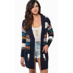 Tobi D'Lila Wrap Cardigan ($25) ❤ liked on Polyvore featuring tops, cardigans, navy, navy blue cardigan, navy open cardigan, aztec-print tops, navy blue tops and aztec pattern cardigan