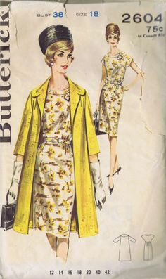 "VINTAGE 1 PC DRESS COAT SEWING PATTERN 2604 BUTTERICK SZ 18 BUST 38 HIP 40"" CUT"