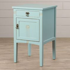 Light Blue Nightstand from Wayfair Add a hint of antiquity to your bedroom with a rustic nightstand.