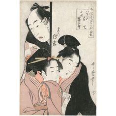 "Kitagawa Utamaro (1753?-1806)  Oban tate-e de la série ""Chiwa kagami tsuki  no murakumo"", modèles de langage d'amour:  les nuages au-dessus de la lune, représentant  Yaoya Oshichi, Kosho Kichisaburo et Dozaemon  Denkichi. Signé Utamaro hitsu, éditeur Enshuya  Matabei, vers 1798-1800  37,9 × 25,4 cm  #piasa_auction #piasa #design #auction #Interiordesign  #paris #parisauction #collectors #youngcollectors #asia"