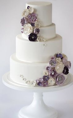 Featured Cake: Amy Beck Cake Design; Wedding cake idea. #purpleweddingcakes