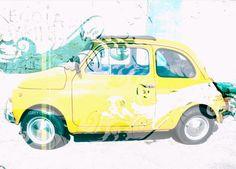 Yellow fiat 500 by Grey Lemon http://grey-lemon.blogspot.com/2010/06/out-to-brush.html
