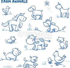 Vector Art : Cute cartoon farm animals