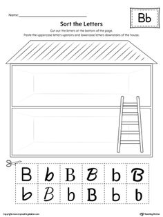 Practice identifying the uppercase and lowercase letter B in this sorting printable worksheet.