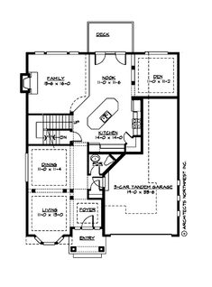 Van gogh 3854 the van gogh plan by village builders for Tandem garage house plans