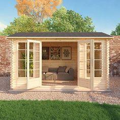 Buy The Shore x Log Cabin at Waltons Garden Buildings. Shed Office, Backyard Office, Backyard Studio, Backyard Sheds, Garden Office, Backyard Patio, Outdoor Office, Studio Hangar, Ideas Cabaña