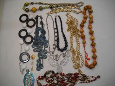Vintage Lot Of 10 Necklaces (one fromTrifari) And 4 Pendants From Estate Sale/Brooches by SeaPillowTreasures on Etsy