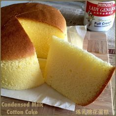 My Mind Patch: Condensed Milk Cotton Cake 炼乳棉花蛋糕 Condensed Milk Cake, Condensed Milk Recipes, Eggless Cake Recipe With Condensed Milk, Delicious Desserts, Dessert Recipes, Yummy Food, Cotton Cake, Sponge Cake Recipes, Just Cakes