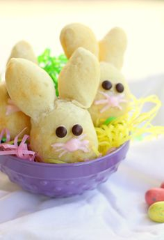 Bunny buns.  Quick easy recipe made with Pillsbury french loaf dough.  I'm going to skip the candy nose and eyes and serve them with brunch.  I might try using raisins for the eyes.  My kids will love these.