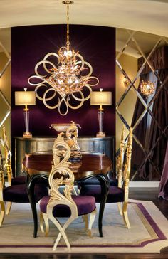 Romantic Dining Room Amazing mix between purple and gold.
