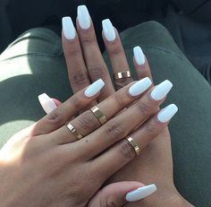love white nails and the nail shape is bomb <3