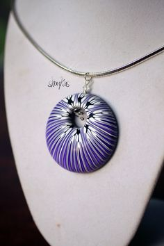 Polymer Clay Bold Pendant STRIPED wearable art by shankas