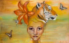 Tiger Lilly, balancing divine masculine and feminine energies within ones self and the evolution of spirit.  Oil on linen by Hannah Natali HannahNatali.com