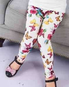 Retail autumn girl legging fashion pants kid star/butterfly printed girl flower leggings ,1811