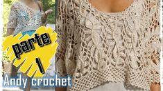 BLUSA EN HORQUILLA Y CROCHET ( 1 DE 2  ) FACIL DE TEJER Andy crochet