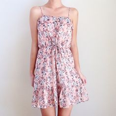 pink floral dress offers welcome size small light pink floral print dress with ruffle detail and drawstring waist. •570018•  website: xomandysue.com instagram: xomandysue Forever 21 Dresses