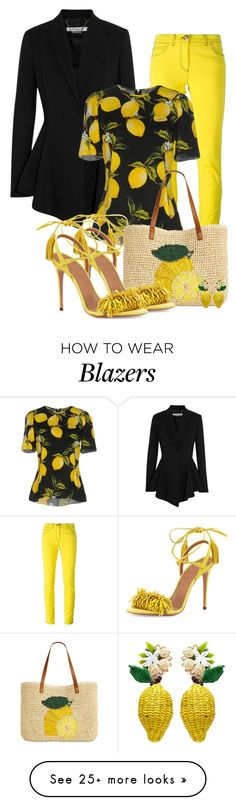 """lemon"" by atenaide86 on Polyvore featuring Givenchy, Versace, Dolce&Gabbana, INC International Concepts, Aquazzura and Mercedes Salazar"