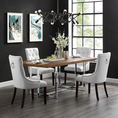 Faith White Leather PU Dining Chair - Set of 2 | Tufted | Ring Handle | Chrome Nailhead Finish - Walmart.com - Walmart.com Tufted Dining Chairs, White Leather Dining Chairs, Fabric Dining Chairs, Dining Chair Set, Dining Room, Traditional Dining Chairs, Inspired Homes, Home Decor Styles, Home Furnishings