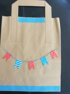 Bunting decorated gift bag made with washi tape