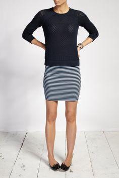 Stripe skirt, jumper, ballet flats