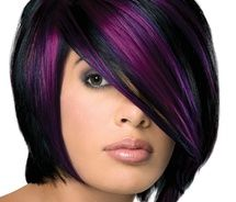 purple highlights- i love this and would so do it but i don't think my hubby would be too thrilled! lol!