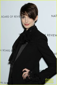 I love Anne's hair here, the short cut suits her! Anne Hathaway & Adam Shulman - NBR Awards Gala 2013 // Just Jared