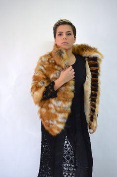Real fur vest, colourful fox fur vest, genuine fox fur pelt ...