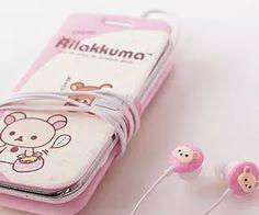 Rilakkuma cell phone case and matching earbuds. Rilakkuma, Hello Kitty, Kawaii Phone Case, Mode Kawaii, Kawaii Room, Kawaii Accessories, Iphone Accessories, Cute Japanese, Kawaii Clothes