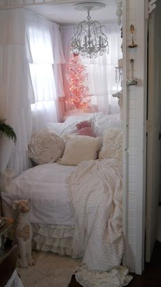 This Shabby Chic Retreat Will Inspire You with Ideas on How to Decorate Tiny Spaces!  See More at thefrenchinspiredroom.com