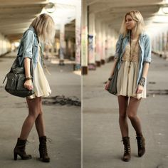 Dress with open chambray shirt, and heeled combat boots