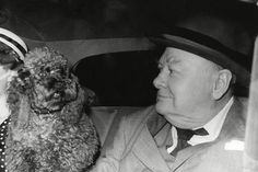 Winston Churchill With One Of His Buddies Rufus