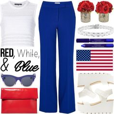 Red, White and Blue Fashion by helenevlacho on Polyvore featuring Thakoon, Essentiel, Marni, Chanel, Henri Bendel, By Terry, redwhiteandblue, contestentry and july4th