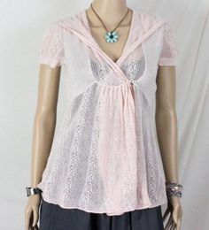 b5d5c075b496ce Anthropologie Knitted Knotted Sweater S size Pink Hooded Lace Short Sleeve  Top Lace Sweater