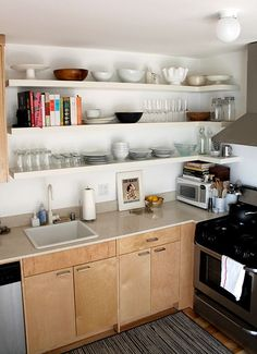 DIY wraparound open shelving in kitchen using IKEA lack shelves japanesegardenwall japanesegardenideas japanesegardendesign Cheap Kitchen Makeover, Kitchen Design Small, Kitchen Design, Open Kitchen Shelves, Diy Kitchen, Kitchen Storage Shelves, Shelving, Ikea Lack Shelves, Kitchen Storage