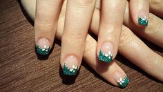 Green brocade tips-acril nails