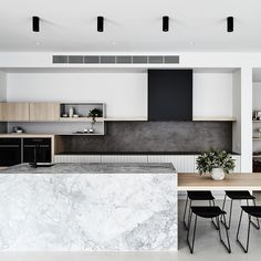 The Design Files: What happened when an interior stylist bought the worst home on the best street Kitchen Island Dining Table, Kitchen Benches, Stone Kitchen Island, Kitchen Cabinets, Stone Island, Dining Tables, The Design Files, Küchen Design, House Design