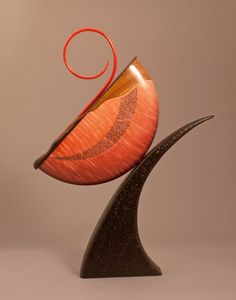 Wood Art, Alan Carter, Artist, Red Spiral, 2012, , Split bowl construction with dyed, pierced maple, wavy edged jatoba wedge, painted and carved maple, painted beech compwood, lacquer finish,    Size   H: 18 in  W: 13 in  D: 2.5 in    Weight: 1 lb