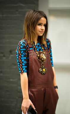 Leather Jumpsuit, Chunky Necklace