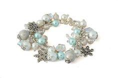 White Pearl Snowflake Charm Bracelet for women, handmade Christmas jewelry by Lottieoflondon #lottieoflondon
