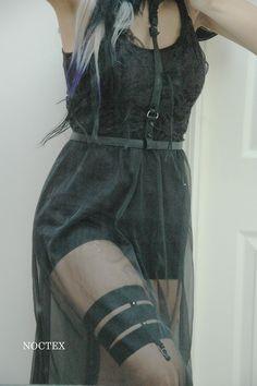 Black harness, garter, sheer maxi dress