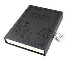 Vintage Balck Diary Notebook Journal Notepad Hard Cover With Code Lock Gift Box Black
