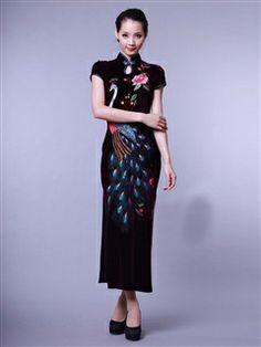 Women's Charmeuse Polyester Black Ankle-length Embroidery peacock Cheongsam Dress