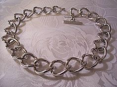 Monet Link Chain Necklace Silver Tone Vintage Curb Style Toggle Bar