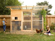 """Winter coop with expanded yard. Great for letting in as much sun as possible in the winter.""""Garden Coop"""" Building Plans (up to 8 chickens) from My Pet Chicken Walk In Chicken Coop, My Pet Chicken, Easy Chicken Coop, Backyard Chicken Coops, Building A Chicken Coop, Chickens Backyard, Chicken Pen, Chicken Perches, Urban Chicken Coop"""