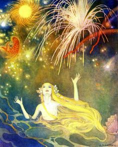 """She had never seen such magic fires. Great suns whirled round, gorgeous fire-fish hung in the blue air... """"The Little Mermaid"""" illustrated by Dorothy P. Lathrop (1939)"""