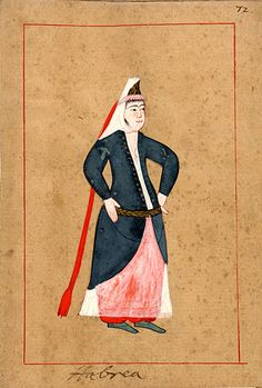 Hebrew woman. The 'Rålamb Costume Book' is a small volume containing 121 miniatures in Indian ink with gouache and some gilding, displaying Turkish officials, occupations and folk types. They were acquired in Constantinople in 1657-58 by Claes Rålamb who led a Swedish embassy to the Sublime Porte, and arrived in the Swedish Royal Library / Manuscript Department in 1886.